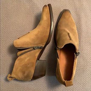 Frye booties. Burnished leather.